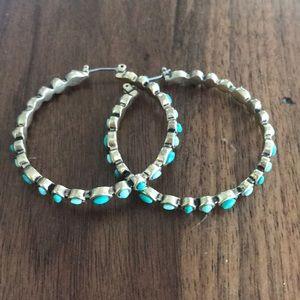 Blue gem hoop earrings